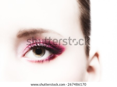 Close-up, beautiful woman's eye and perfect makeup, beauty and fashion - stock photo