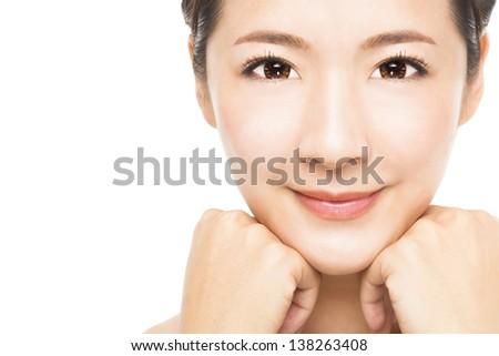 close up beautiful young Woman face - stock photo