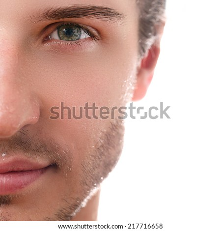 Close-up, beauty. Handsome man on a white background - stock photo