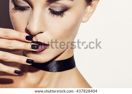 Close up beauty portrait female model in glamour style in the studio - stock photo