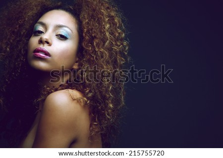 Close up beauty portrait of a sexy african american woman - stock photo