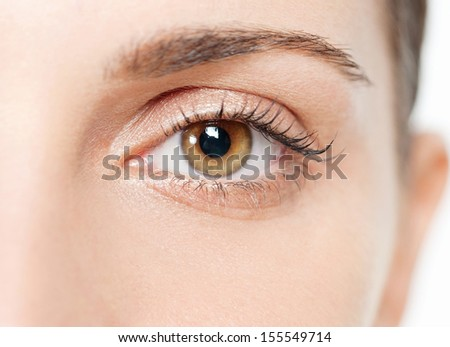 Close up beauty portrait of a young and attractive hispanic woman eye with dark eyelashes and intense brown eyes looking into the camera. Vision and sight. - stock photo