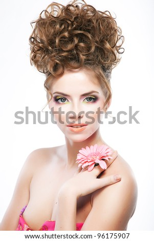 Close-up beauty portrait of sexy caucasian young female brunette with festive hairstyle - stock photo