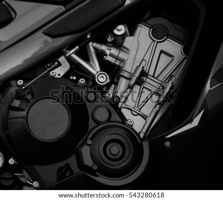close-up black and white motorcycle engine