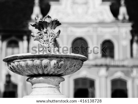 Close up black and white of ancient fountains in thailand. - stock photo