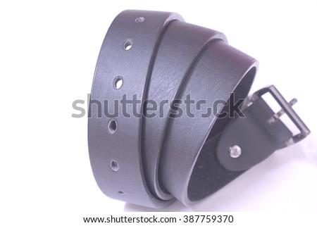close up black belt isolated on white background - stock photo