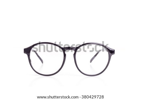 Close up black eye glasses isolated on white background