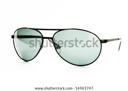 Close up  black glasses on white background