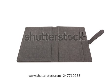 Close up Black leather case on white background. - stock photo
