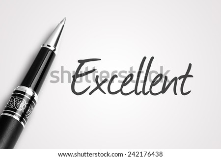 Close up black pen writes excellent on paper  - stock photo