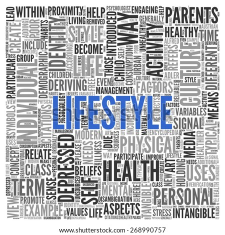Close up Blue LIFESTYLE Text at the Center of Word Tag Cloud on White Background.