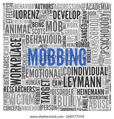 Close up Blue MOBBING Text at the Center of Word Tag Cloud on White Background.