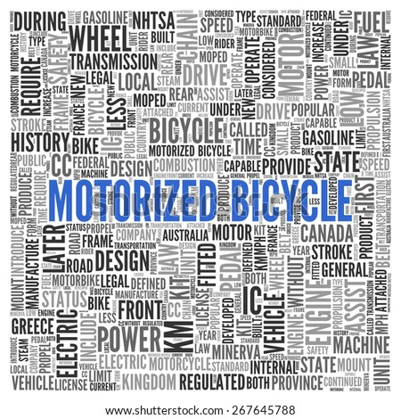 Close up Blue MOTORIZED BICYCLE Text at the Center of Word Tag Cloud on White Background.