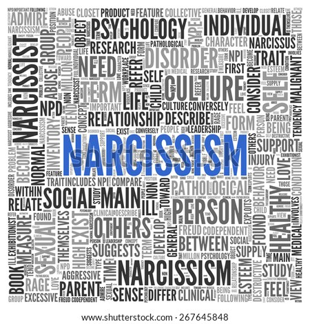 Close up Blue NARCISSISM Text at the Center of Word Tag Cloud on White Background. - stock photo