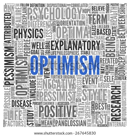 Close up Blue OPTIMISM Text at the Center of Word Tag Cloud on White Background. - stock photo