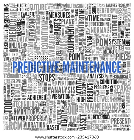 Close up Blue PREDICTIVE MAINTENANCE Text at the Center of Word Tag Cloud on White Background.