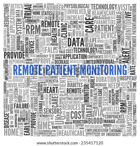 Close up Blue REMOTE PATIENT MONITORING Text at the Center of Word Tag Cloud on White Background.