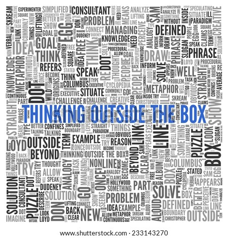 Close up Blue THINKING OUTSIDE THE BOX Text at the Center of Word Tag Cloud on White Background.