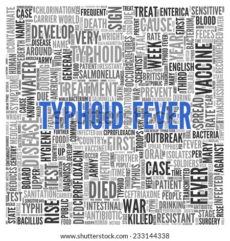 Close up Blue TYPHOID FEVER Text at the Center of Word Tag Cloud on White Background.