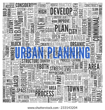 Close up Blue URBAN PLANNING Text at the Center of Word Tag Cloud on White Background.