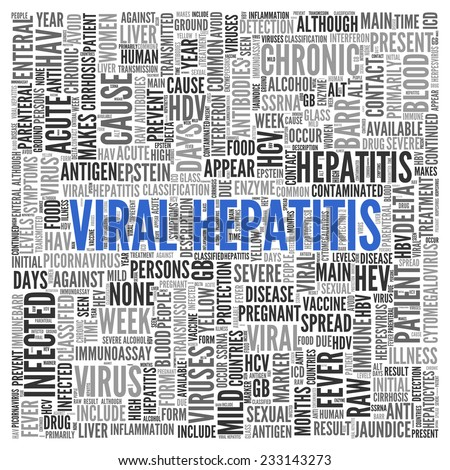 Close up Blue VIRAL HEPATITIS Text at the Center of Word Tag Cloud on White Background.