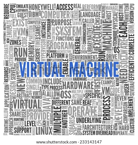 Close up Blue VIRTUAL MACHINE Text at the Center of Word Tag Cloud on White Background.