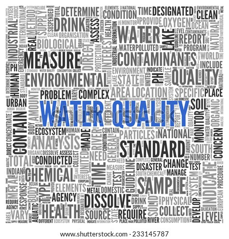 Close up Blue WATER QUALITY Text at the Center of Word Tag Cloud on White Background.