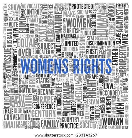 Close up Blue WOMENS RIGHTS Text at the Center of Word Tag Cloud on White Background.