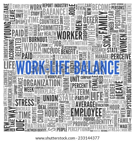 Close up Blue WORK LIFE BALANCE Text at the Center of Word Tag Cloud on White Background.