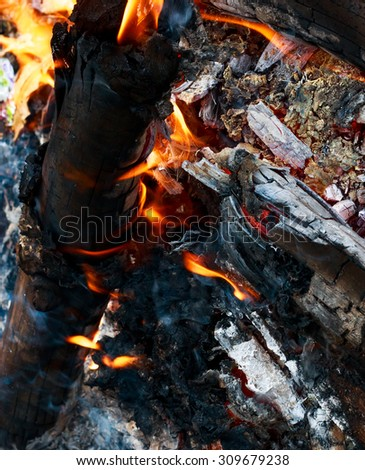 Close up bonfire from wood,black charcoal,ashes and flame by top view shot.