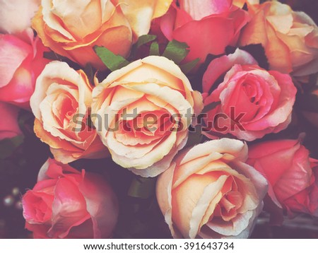 Close up bouquet of fabric rose flower with retro filter effect  - stock photo