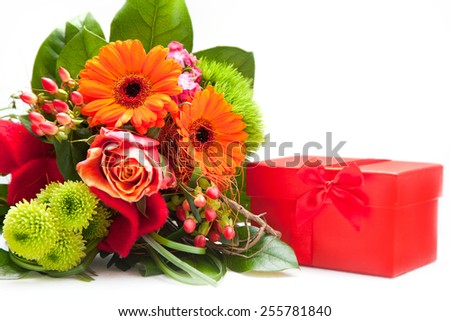 Close up Bouquet of Pretty Fresh Flowers and Red Gift Box Isolated on White Background. - stock photo