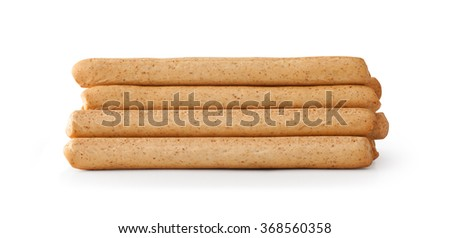 Close up Breadsticks grissini , isolated on white - stock photo