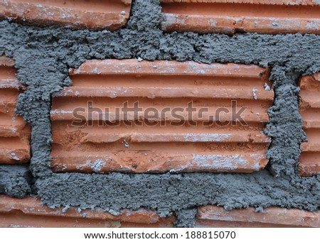 close-up brick of building construction house - stock photo