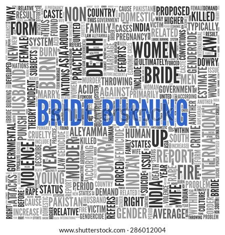 Close up BRIDE BURNING Text at the Center of Word Tag Cloud on White Background.