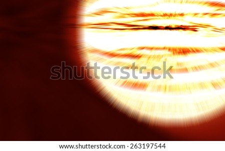 close-up bright planet explosion flash on a red backgrounds with radial blur, background illustration - stock photo