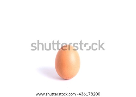 Close up brown chicken egg isolated on white background - stock photo