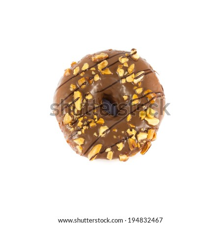 close up brown donut on white background