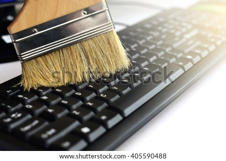 Close up Brush clean keyboard - stock photo
