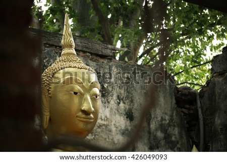 Close-up Buddha statue,Wat Sang Kratai is 400 years old temple. It is deserted temple in Ang Thong Province, Thailand.