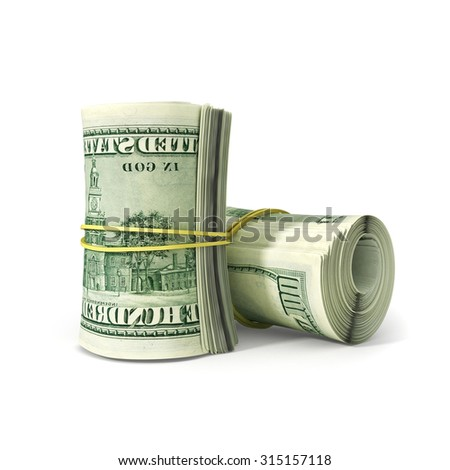 Close up Bunch of  Dollar Paper Bill Rolled with Rubber, Isolated on White Background. - stock photo