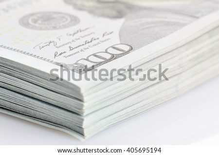 close up bundle of hundred dollars bank notes