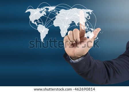 close up business man hand pushing a button on a touch screen interface