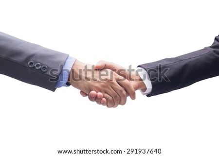 close up business man handshake isolated on white backgrounds:partnership agreement concept:spiritual of teamwork together symbolic:human hands shaking for trust conceptual idea:visionary of corporate - stock photo