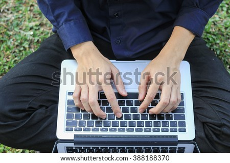 close up business man working about new idea and typing on notebook:creative people making new project or research information knowledge:soft/selective focus concept:top view perspective photo concept - stock photo