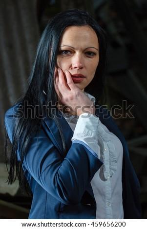 Close up business woman face portrait - stock photo