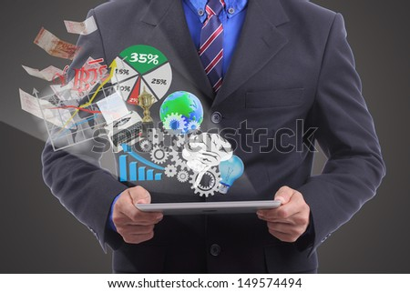 Close up businessman use touch pad for do something
