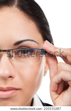 Close up businesswoman face, wear eye glasses, young business woman isolated over white background