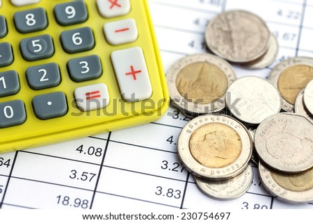 Close up calculator and coin on the table