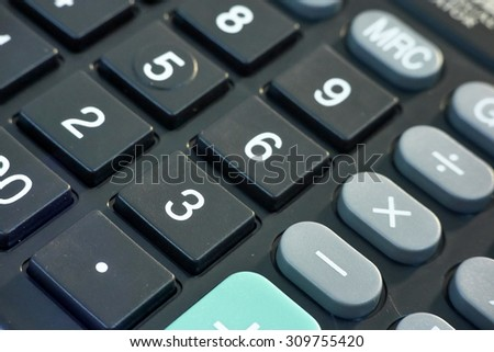 close up calculator key pad focus on one point and  shallow depth of field / Background defocus